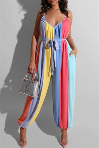 Color Splicing Pocketed Casual Cami Jumpsuit with Belt