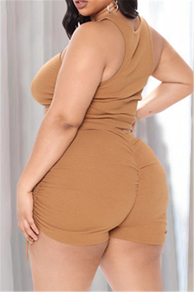 Plus Size Ruched Short top with Drawstring Shorts Sets