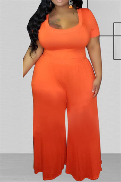 Plus Size XL-5L Solid Color Wide Leg Casual Jumpsuit