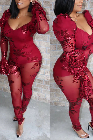 Net Yarn Sequin Splicing Jumpsuit