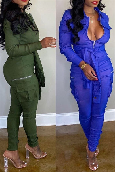 Solid Color Waist Bandage Jumpsuit