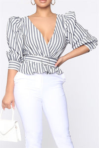 Stripe Bubble Sleeve Top With Belt
