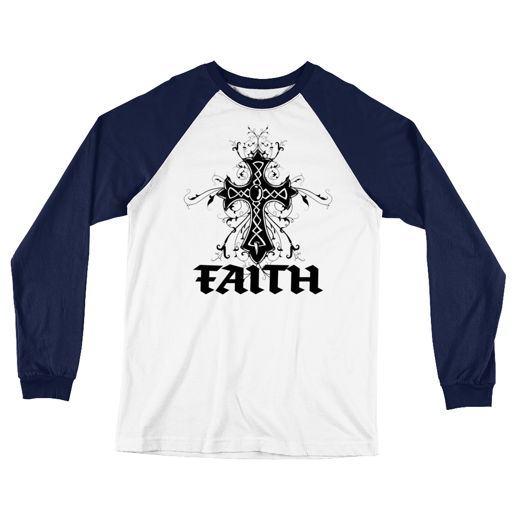 Fatih Vintage Style Cross Long Sleeve Baseball T-Shirt