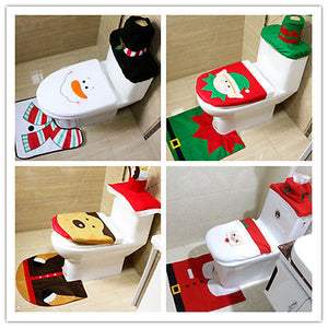3 PCS Christmas Toilet Cover Decoration Set