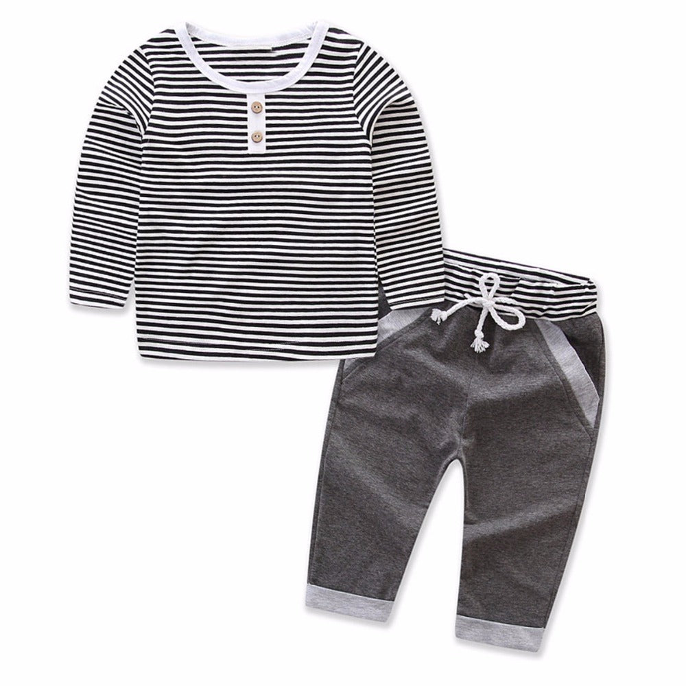 2pcs Baby Boy Kids Clothing Set Casual Strap T Shirt Top Long Sleeve
