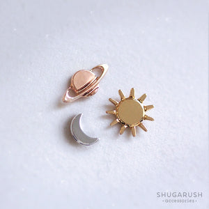 Moon, Star and Saturn Space earrings set (3 pieces)