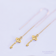 Wish Upon A Star Tiny Key Threader Earrings - Gold