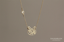 Gold Cat Necklace with Cubic Zirconia Connector Charm