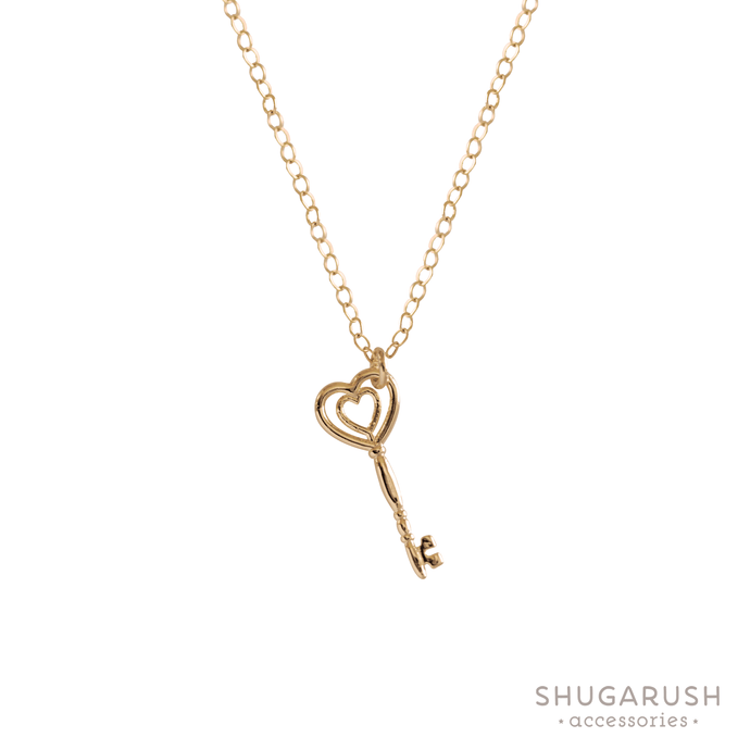 Heart Key Dainty Charm Necklace
