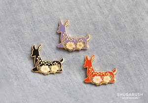 Deer Enamel Pin - Black