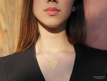 Triangle Lace Flower Gold Necklace