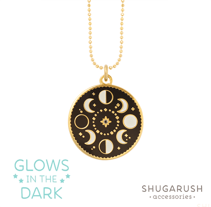 Glow in the Dark - Moon Phases Necklace