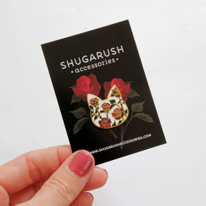 Rose Cat Enamel Pin