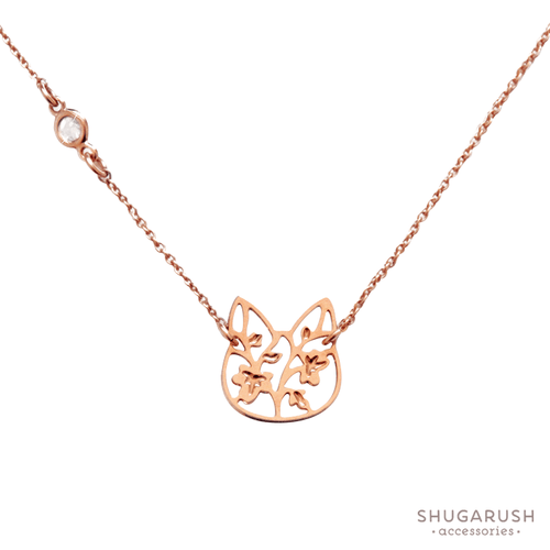 Rose Gold Cat Necklace with Cubic Zirconia Connector Charm