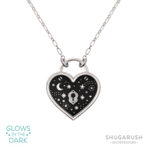 Silver Wish Upon the Stars Padlock Necklace - Black and White