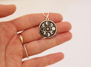 Silver Moon Phases Necklace - Glow in the Dark