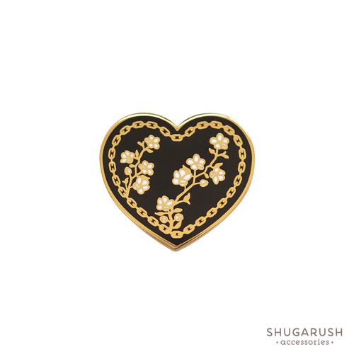 Black Heart and Chain Enamel Pin