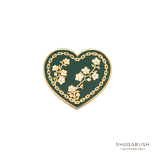 Green Heart and Chain Enamel Pin
