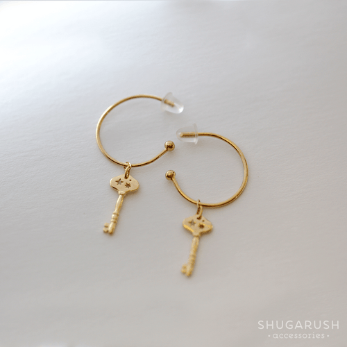 Dainty Skull Hoop Earrings in Gold (Plating over Sterling Silver)