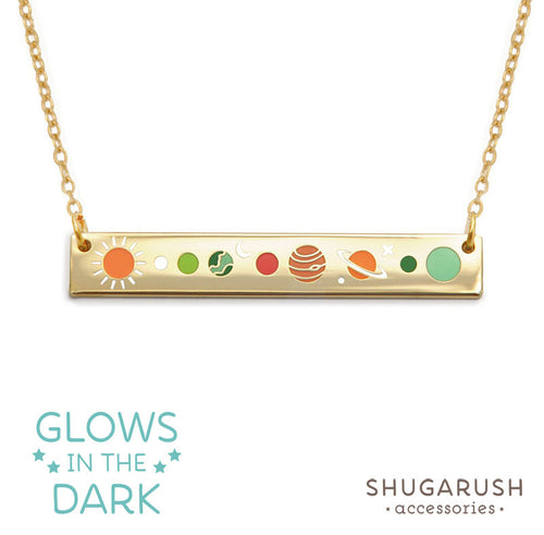 Solar System Bar Necklace Gold