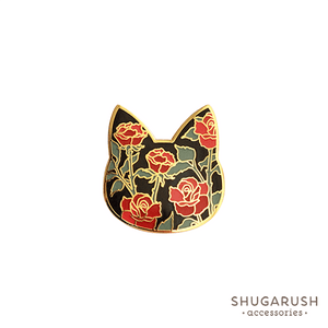 Rose Cat Enamel Pin - Black