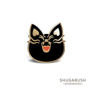Black Mad Military Cat Enamel Pin