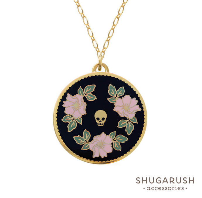 Black Pink Floral Skull Long Necklace
