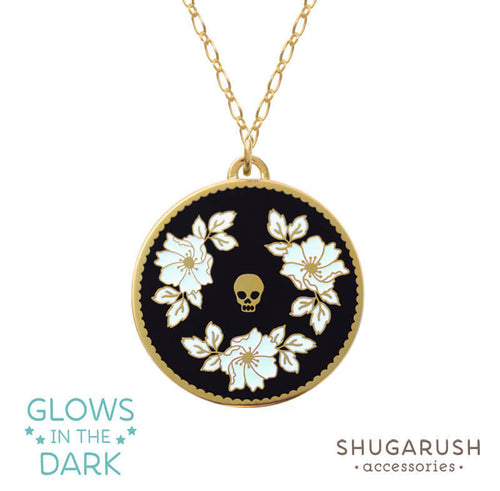 Glow in the Dark - Black White Skull Necklace