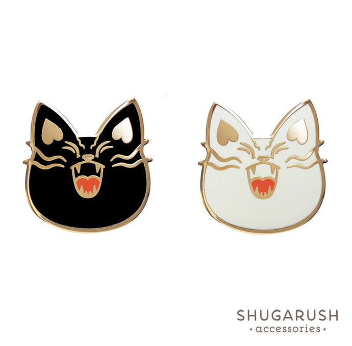 Black & White Mad Cat Pin Set