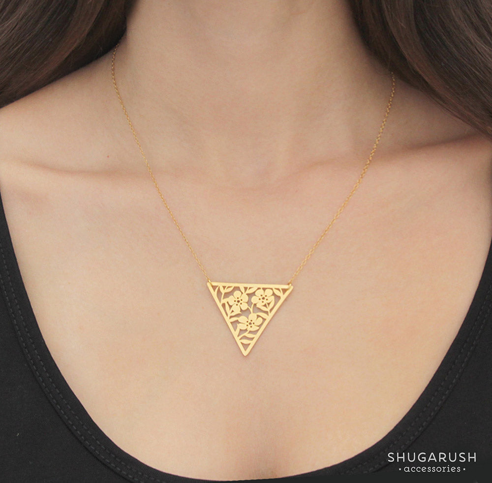 Triangle Lace Flower Gold Necklace – Shugarush Accessories
