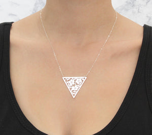 Triangle Lace Flower Silver Necklace