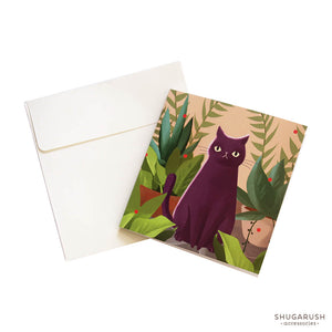 Tiny Cat Lover Greeting Card (Peach)