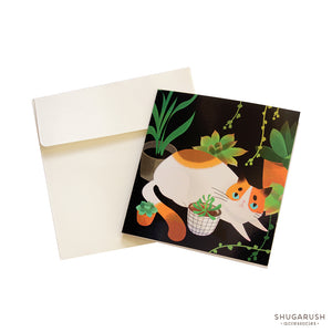 Tiny Cat Lover Greeting Card (Black)