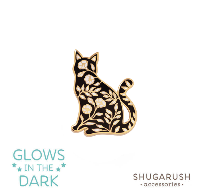 Sitting Floral Cat Pin - Glow in the Dark