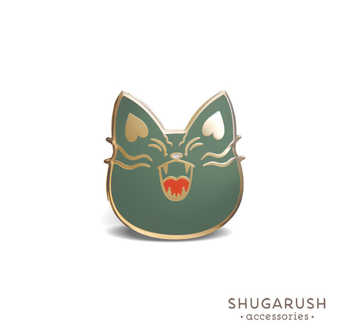 Green Mad Military Cat Enamel Pin