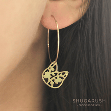 Dainty Cat Hoop Earrings in Gold (Plating over Sterling Silver)