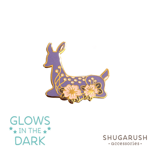 Deer Enamel Pin - Purple