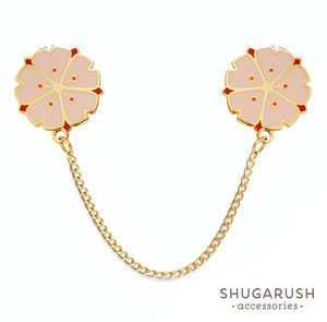 Pink and Red Sakura Collar Pins