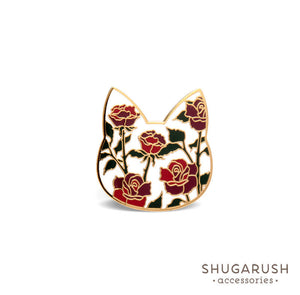 Rose Cat Enamel Pin - White