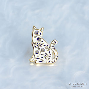 White and Blue Cat enamel pin