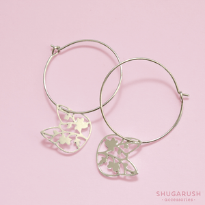 Small Cat Silver Hoop Earrings