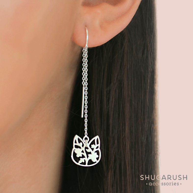 Floral Cat Dangle Earrings - Sterling Silver Chains