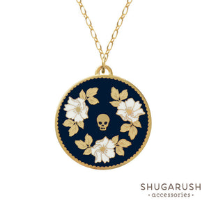 Dark Blue Floral Skull Long Necklace