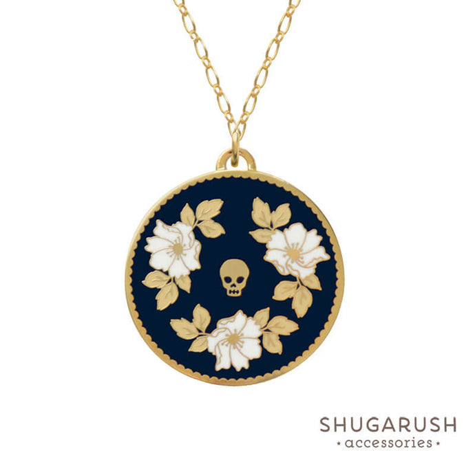 Navy Floral Skull Long Necklace