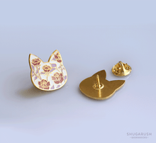 Rose Cat Enamel Pin - Pink