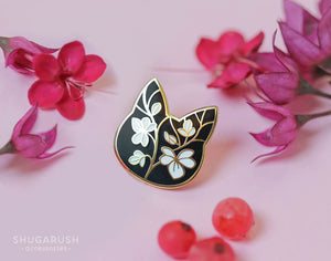 Floral Cat Enamel Pin