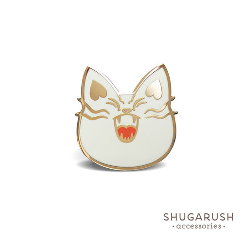 White Bad Cat Enamel Pin
