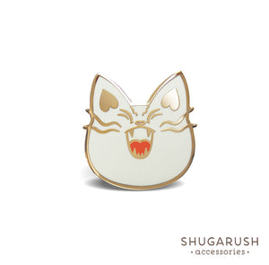White Mad Military Cat Enamel Pin