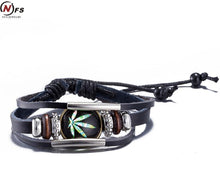 Harajuku Reggae Leather Maple Leaf Bracelet | Rasta Round Resin Bead Bracelet