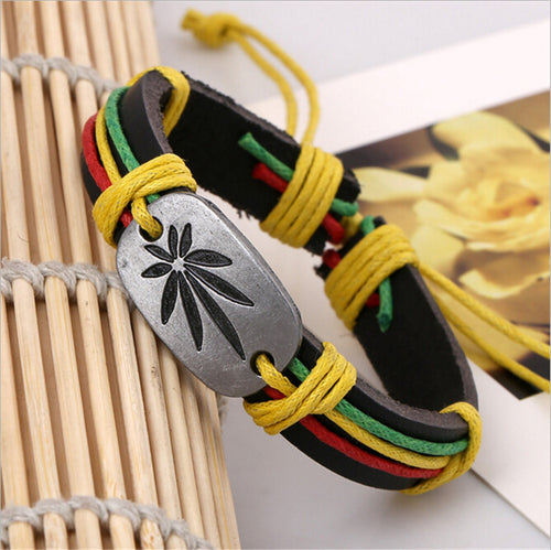 Genuine Leather Metal Maple Leaf Jamaica Unisex Fashion Bracelet | Jamaican Reggae Fashion Wristband